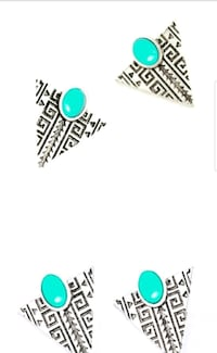 two pairs of silver-colored-and-teal gemstone earr