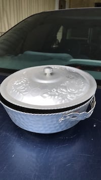 Antique aluminum covered bowl  Holiday, 34690