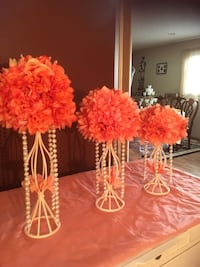 Peach /cream floral on candle stand w/c cream pearls. Three pieces. Used at a Anniversary dinner . Blaine, 55434