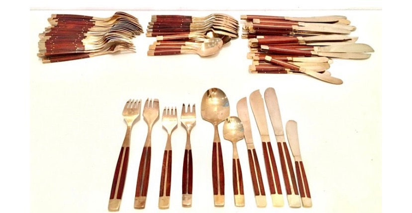 12-piece Delco Stainless Steel Gold Serving Silverware Rosewood Collection