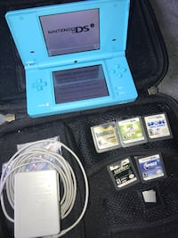Nintendo DSI. Blue. With case. Games and wire. Works Scranton