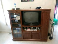 brown wooden TV hutch with CRT television Knoxville, 37917