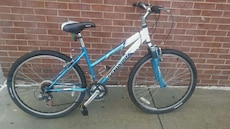 blue and white Schwinn hard tail bike