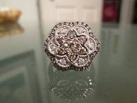 Womens Sterling Silver and Diamond Ring - Sz 8