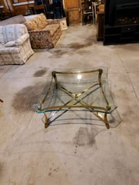 Brass frame glass top coffee table
