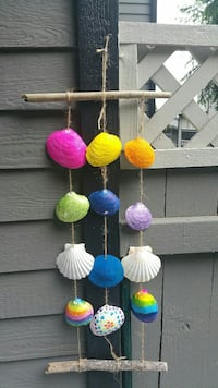 Handmade painted seashell and driftwood wind chime