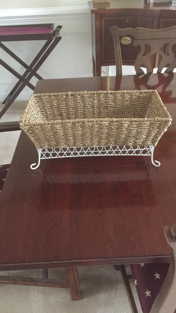 Wicker and metal basket