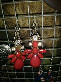 red and silver beaded earrings Chesnee, 29323