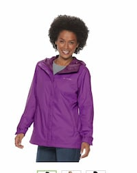 Hooded packable light weight Rain jacket-women size M NEW