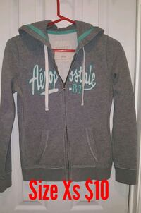 gray and white Aeropostale zip-up hoodie