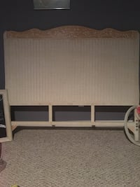 white wooden bed frame with white mattress Avon Lake, 44012