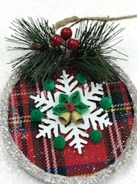 red, black and white Christmas tree ornaments