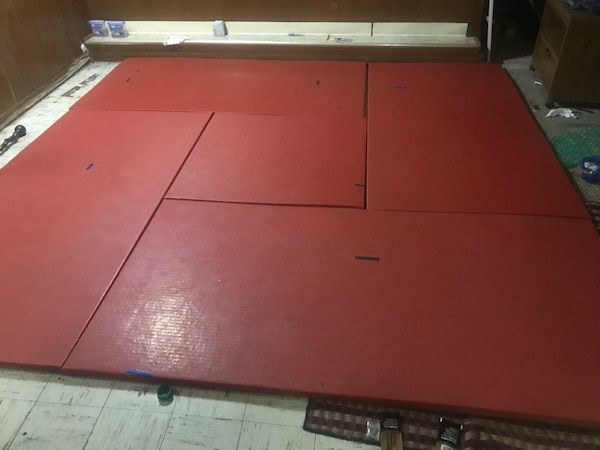 Red martial arts mats
