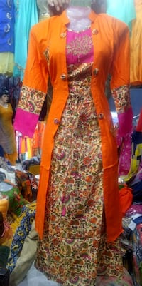 women's yellow and red floral dress 12057 km