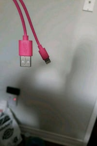 Pink iPhone charger in good condition, headset new Toronto, M1B 4R6