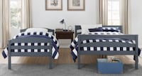 Twin over full grey bunk bed grey