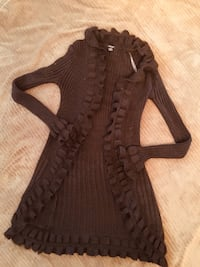 Chocolate frilly sweater size large ladies Calgary, T3K 6J7