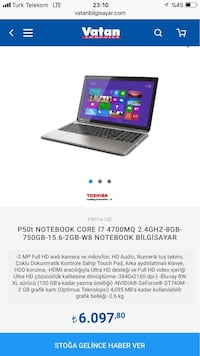 Toshiba P50T i7 Notebook Menderes, 35470