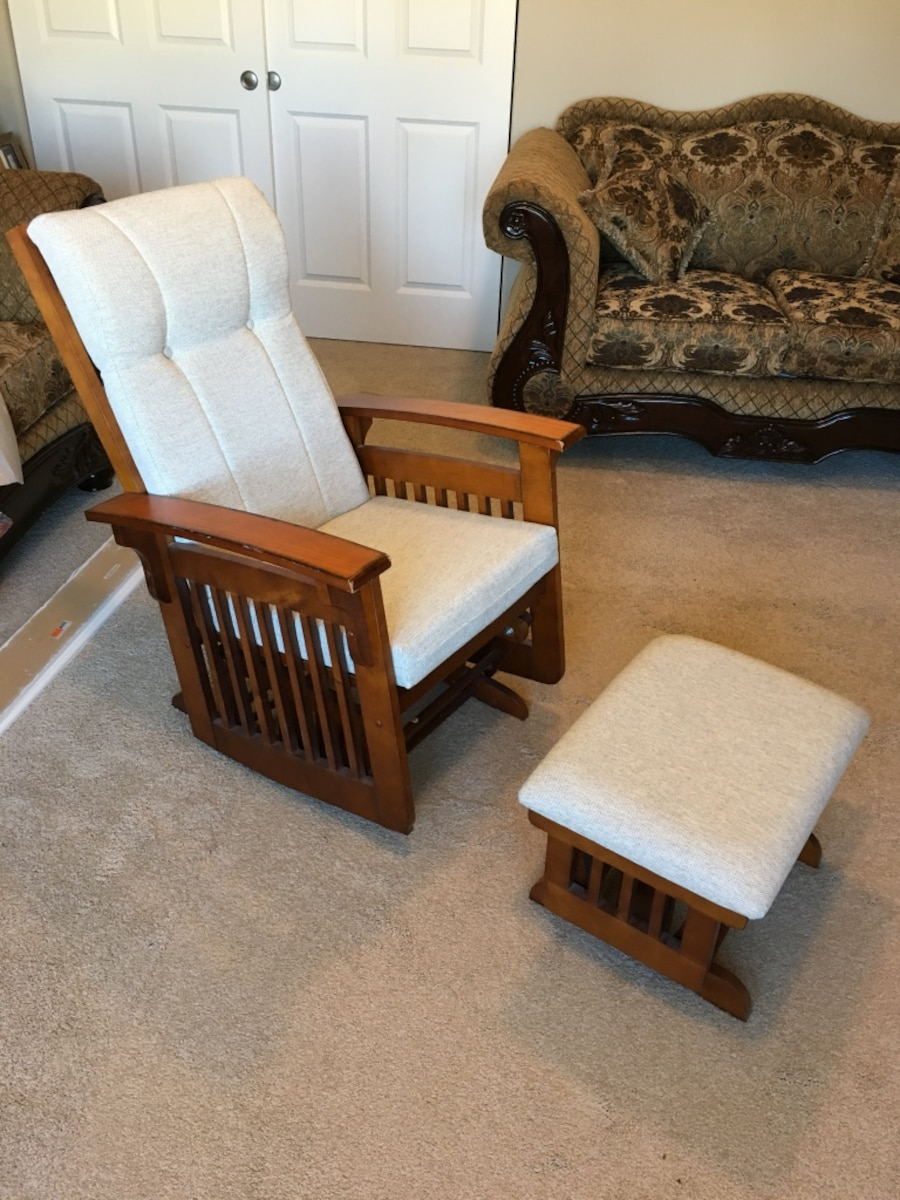 Used Brown Wooden Glider Chair And Ottoman In Renton