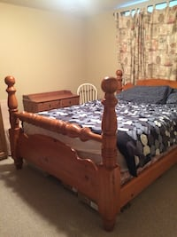 Brown wooden bed frame with mattress, Queen size. Can be sold as a set with dresser, side tables and armoire   Waterloo, N2K 4L5