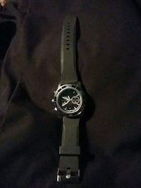round silver chronograph watch with black rubber strap East Riverdale, 20737