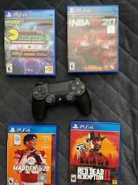 PS4 controller and 4 games