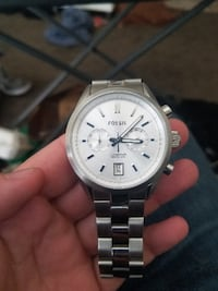Fossil chronograph stainless steel watch with link bracelet