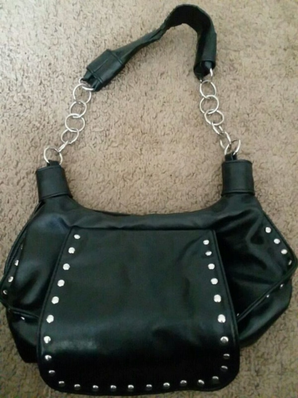 black leather studded crossbody bag