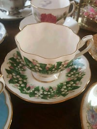 white and green floral ceramic teacup and saucer Calgary, T2Y 2W5