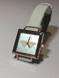 Rose Gold & White Butterfly Watch w/ White Pearl Reflective Face and Rose Gold Butterfly Inside Edmonton