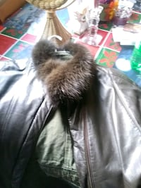 Brown leather coat with fur
