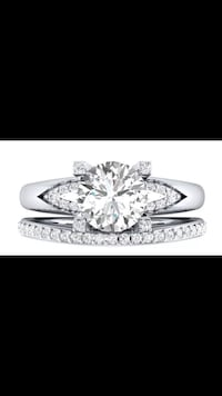 Woman's Stunning Bridal 2 Piece WHiTE Sapphire Set In 925 Sterling Silver Engagement Ring Matching Wedding Band Luxurious Bridal Set  Peoria, 85382