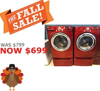 Red LG Front Load Washer and Electric Dryer Set with Pedestals  Elkridge, 21075