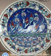 round blue and white floral ceramic plate 796 km