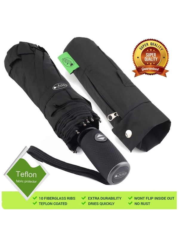 Umbrella Windproof - Automatic Foldable Compact Travel Umbrella by Outdew,  Features Heavy Duty Teflon Coating with Portable Auto Open Close Folding