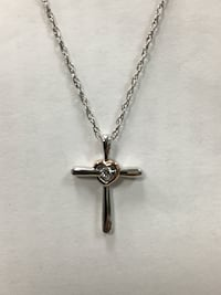 Brand new Sterling silver/10k rose gold cross with diamond necklace Bellflower, 90706