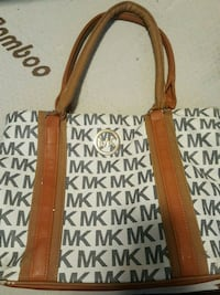brown and white leather tote bag Toronto, M9R 3L5