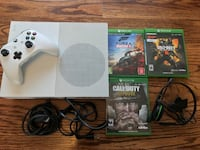 white Xbox One console with controller and game cases Arlington Heights