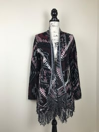LUCKY BRAND tribal multi color cardigan
