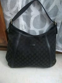 Hobo bag in pelle nera monogrammata Scandicci, 50018
