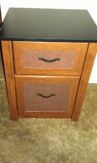 Two Drawer Wood Filing Cabinet (Black Top w/ Wood Finish Bottom)