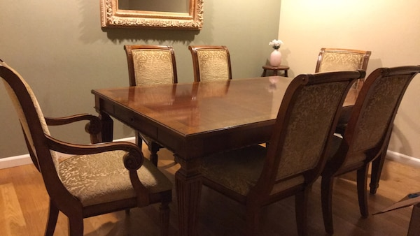Begagnad Ethan Allen Dining Table Extension 6 Chairs Amd A Matching Wall Mirror Till Salu I Campbell Letgo