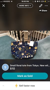 Small floral tote from Tokyo. W tags Toronto, M3B