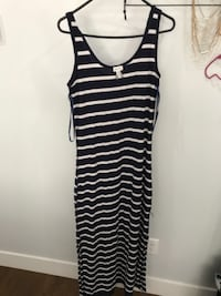 black and white stripe sleeveless dress VANCOUVER
