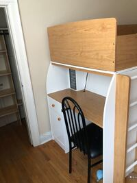 Bunk bed with desk and storage single over single. No mattresses.