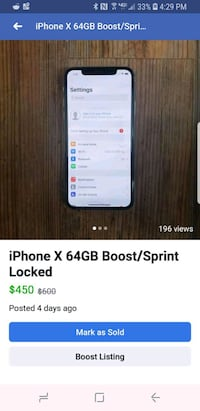 Iphone x 64gb boost/sprint locked Sterling, 20165