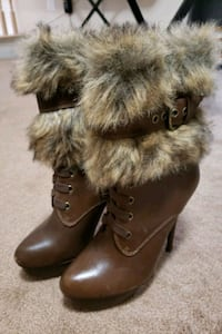 Women's boots leather fur Steve Madden size 7 Baltimore, 21209