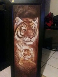 brown wooden framed tiger painting St. Catharines, L2P 2H1