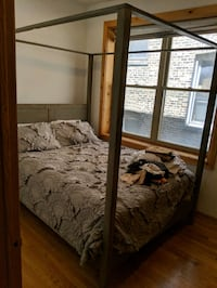 Queen Bed Barely Used. World Market Gray Canopy Chicago