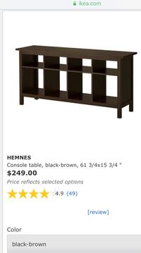 IKEA Hemnes Black console for use in dining room, foyer, living room as sofa table, etc. It is the console only and not the accompanying decor. Riverview, 33579